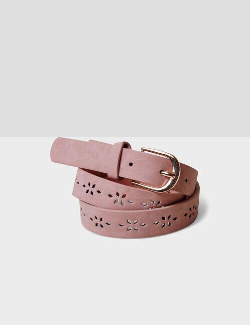 Light pink perforated belt