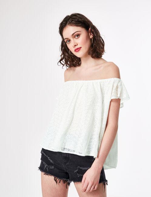 blouse épaules dénudées écrue