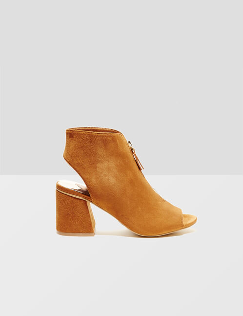 Camel ankle boots with zip detail