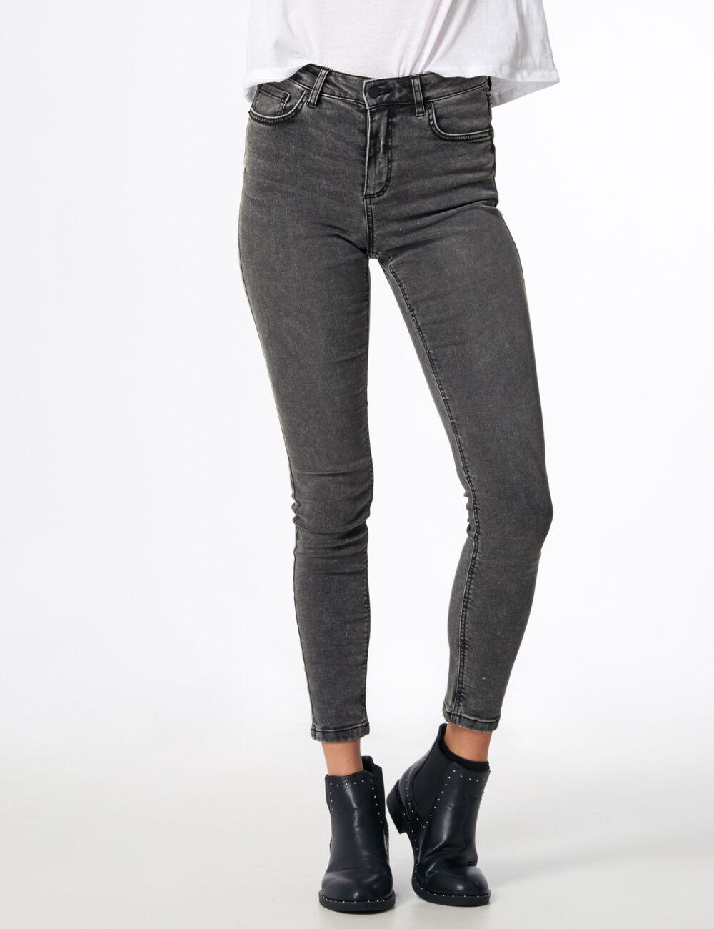 jean super skinny taille haute gris femme jennyfer. Black Bedroom Furniture Sets. Home Design Ideas
