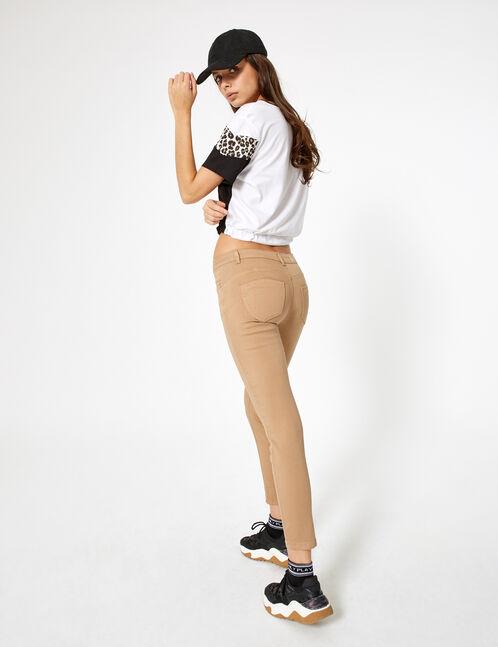 pantalon skinny taille haute beige