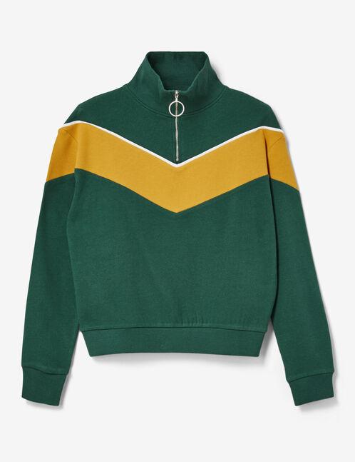 Green and ochre zipped sweatshirt with chevron detail
