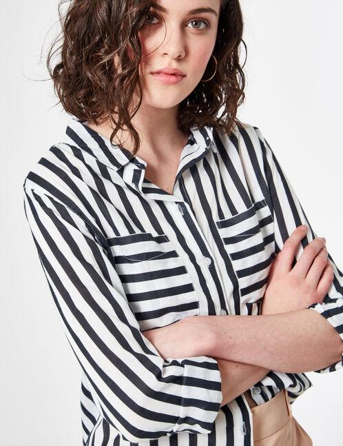 Cream and black striped shirt