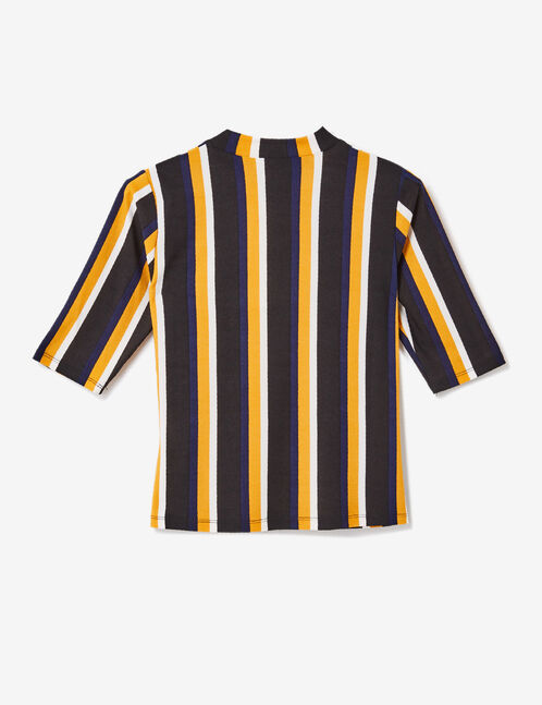 Black, ochre, navy blue and white striped T-shirt