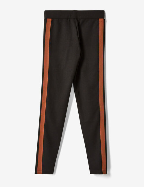 Black and camel leggings with side stripe detail