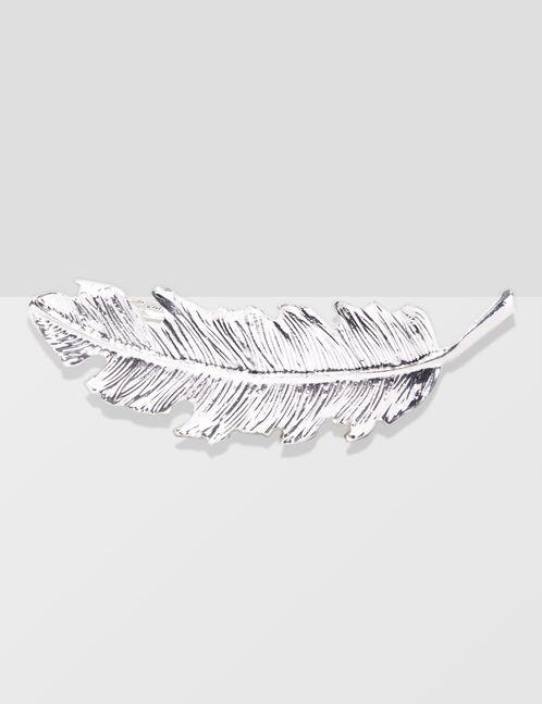 Silver feather hair clip