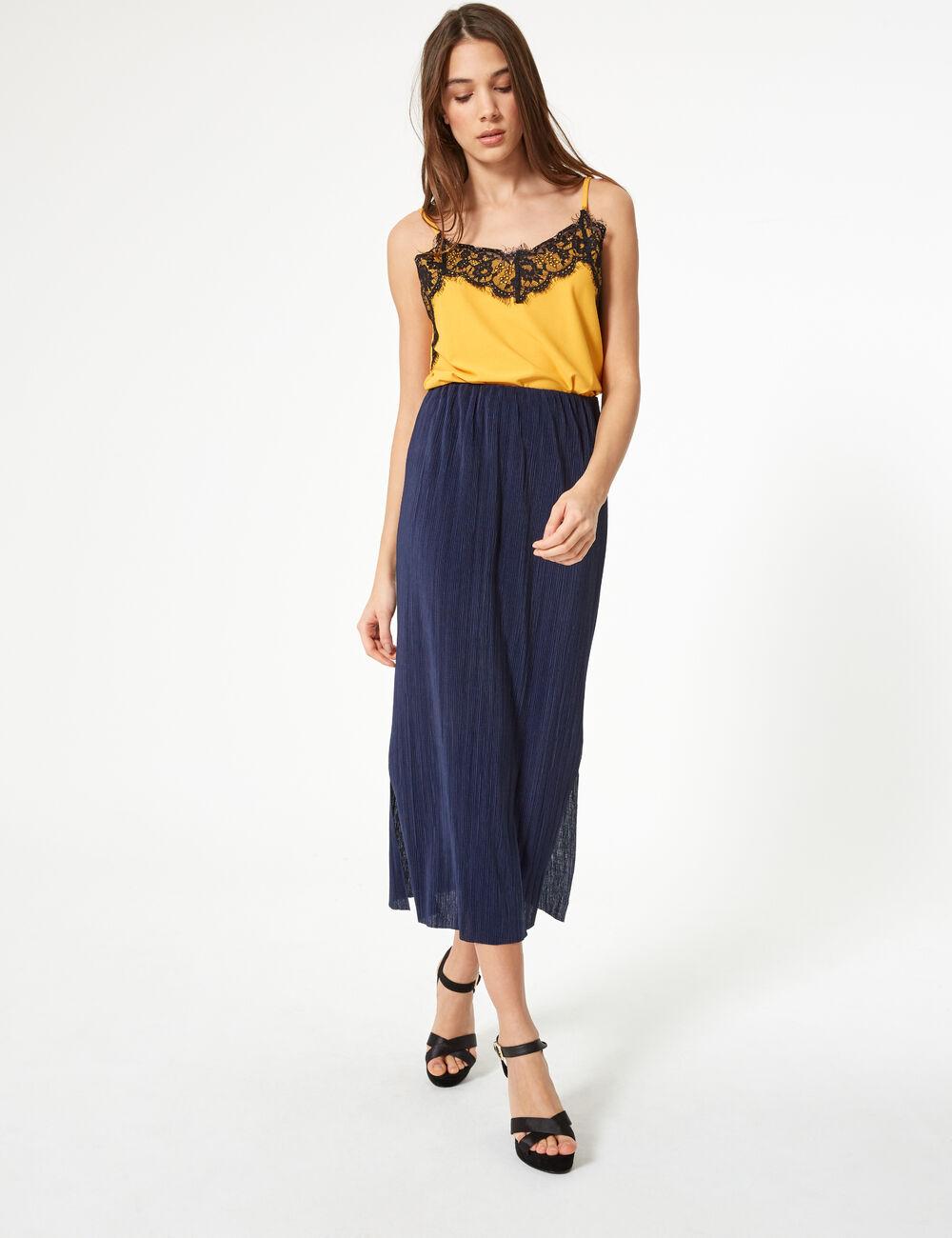 jupe longue pliss e bleu marine femme jennyfer. Black Bedroom Furniture Sets. Home Design Ideas