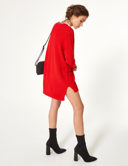 Red textured cardigan