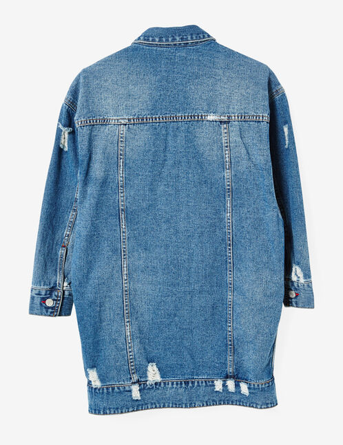 Long medium blue denim jacket