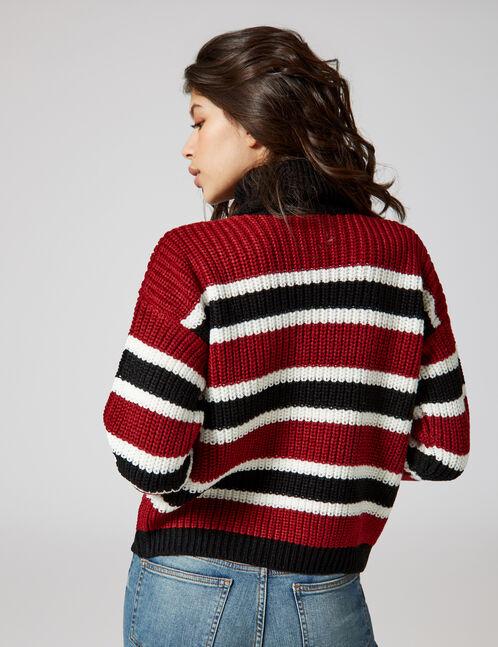 Black, burgundy and cream striped polo neck jumper