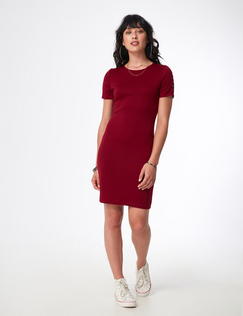 Burgundy dress with small hoop detail