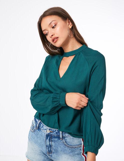blouse avec ouverture verte