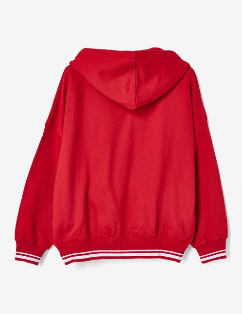 sweat zippé finitions rayées rouge
