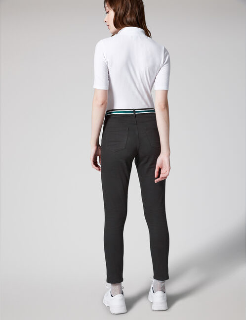Black, white and green trousers with stripe detail