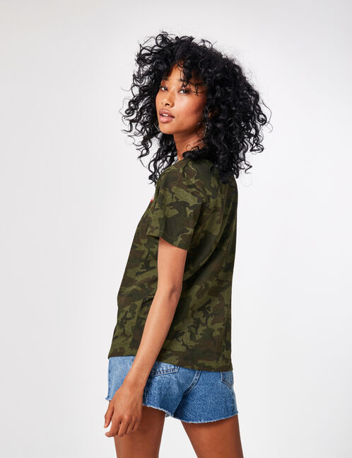 Khaki camouflage T-shirt with embroidery detail