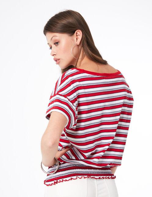 tee-shirt rayé élastiqué rouge, écru et bleu marine