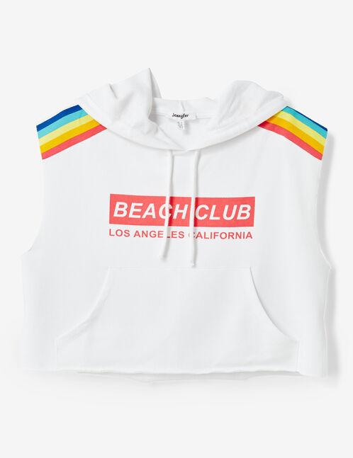 White sleeveless sweatshirt