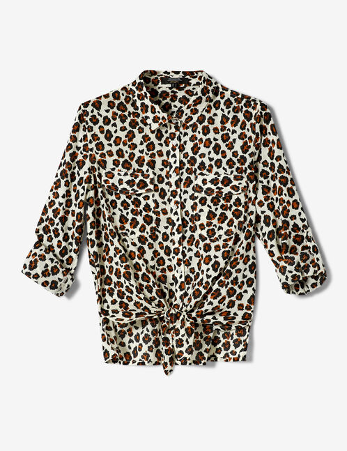 Beige, brown and black leopard print tie-fastening shirt