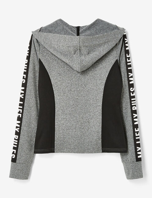 Charcoal grey marl fitness jacket with text design detail