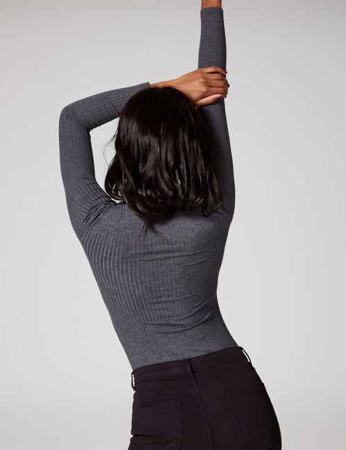 Charcoal grey marl bodysuit with lacing detail
