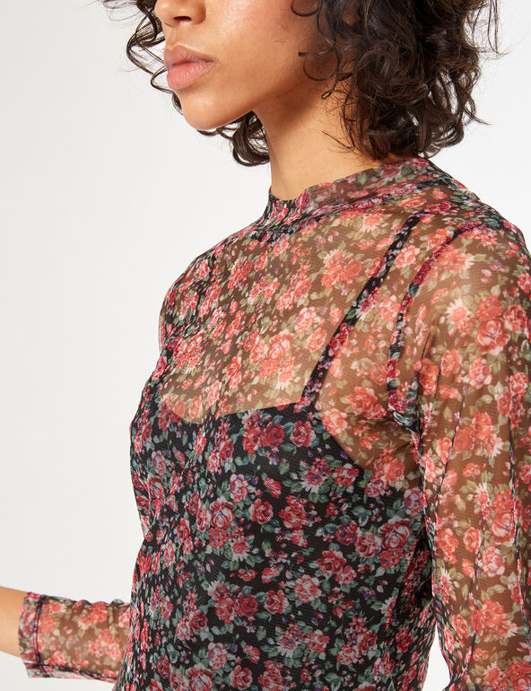 Robe transparente imprimé fleuri