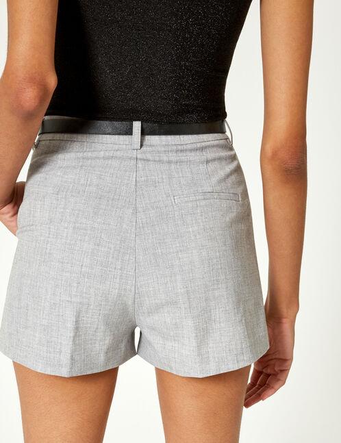 short avec ceinture gris chiné
