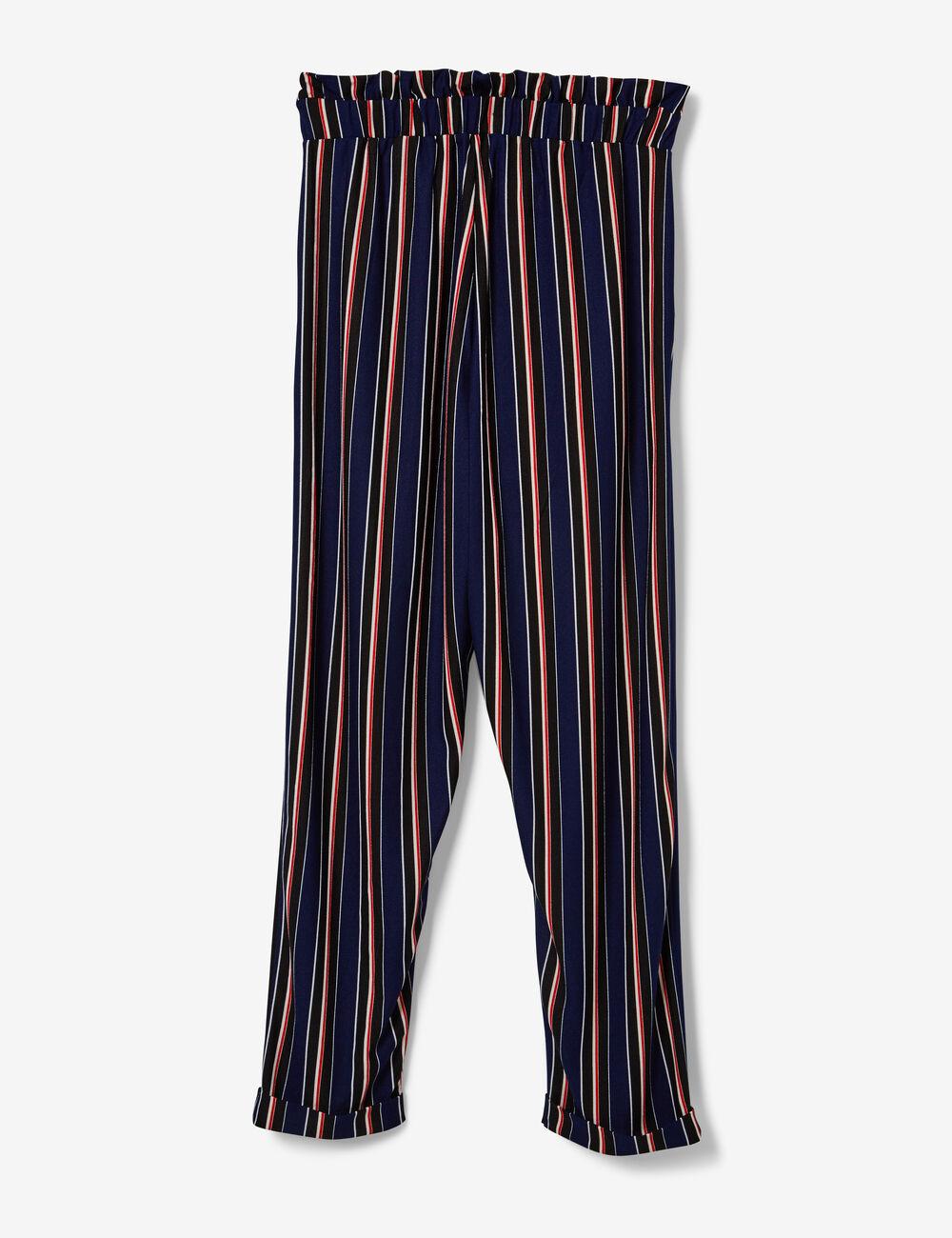 244fa5ee9600 Pantalon fluide rayé noir, blanc, rouge et bleu marine femme • Jennyfer