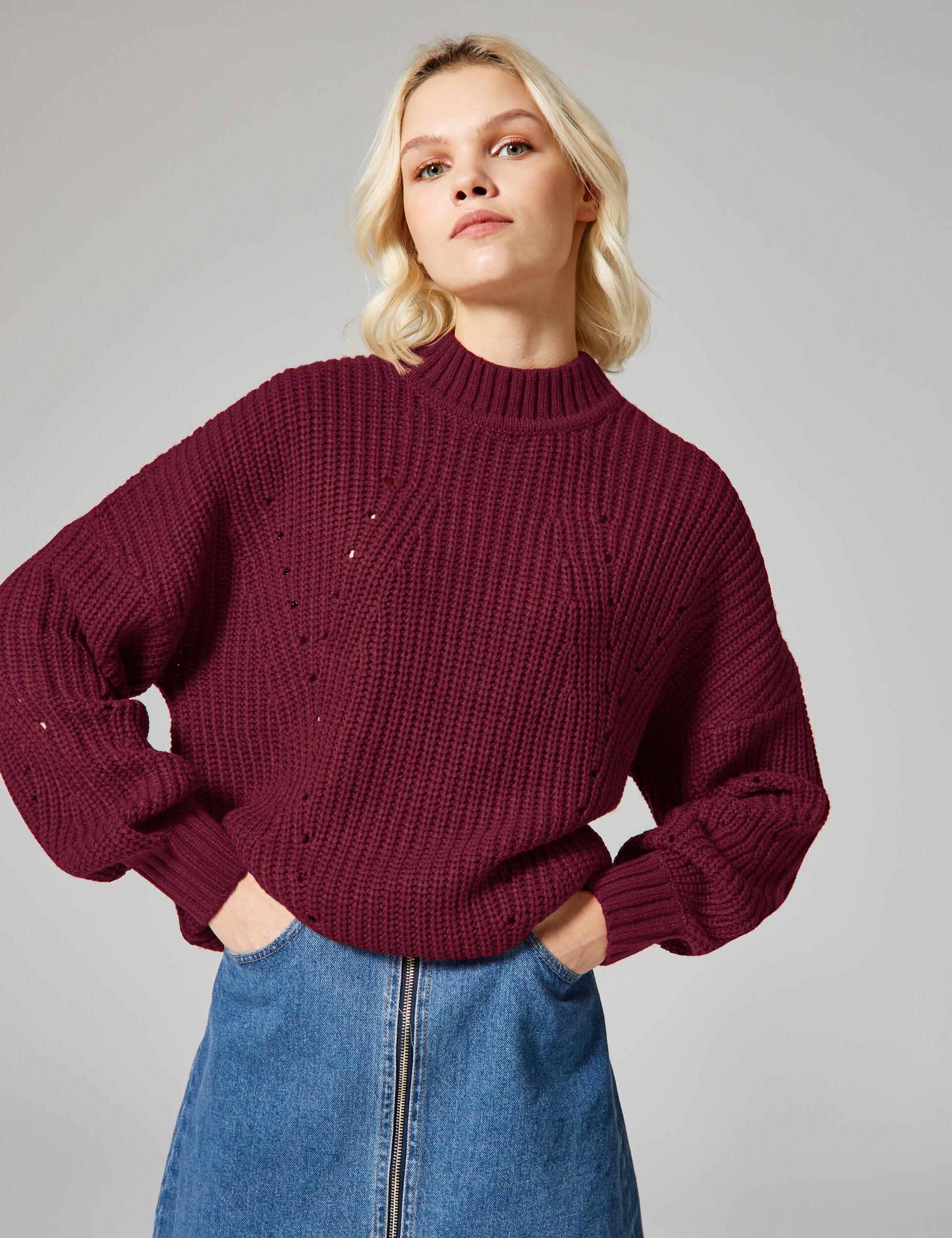 Burgundy openwork knit jumper