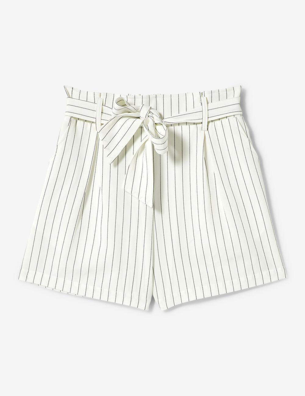 49a124ae2c Short rayé ceinture à nouer blanc femme • Jennyfer