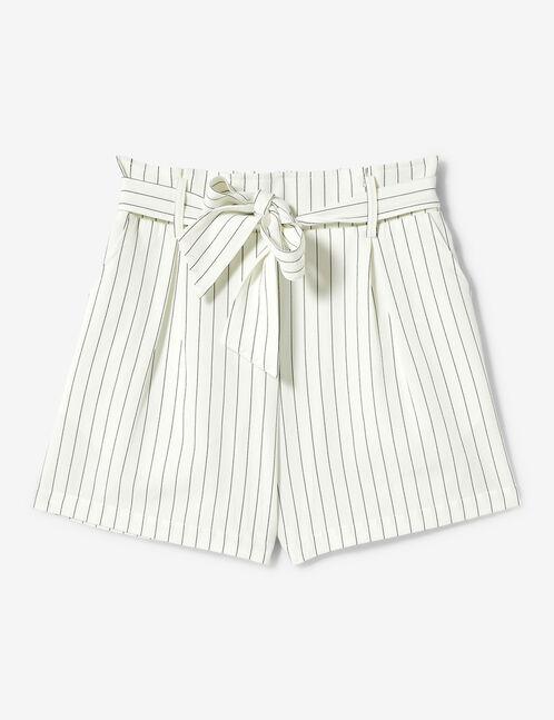 short rayé ceinture à nouer