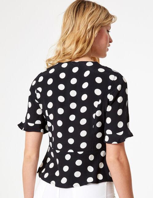 Black and white polka dot blouse