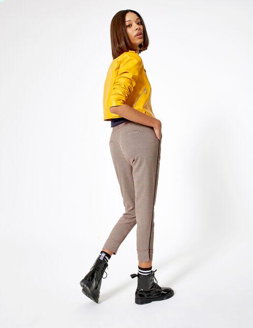 pantalon de pied de puce beige, noir et bordeaux