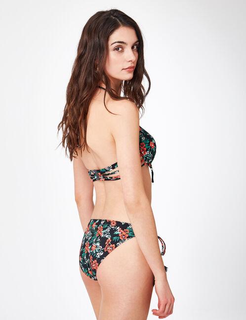 Black and red printed bikini top