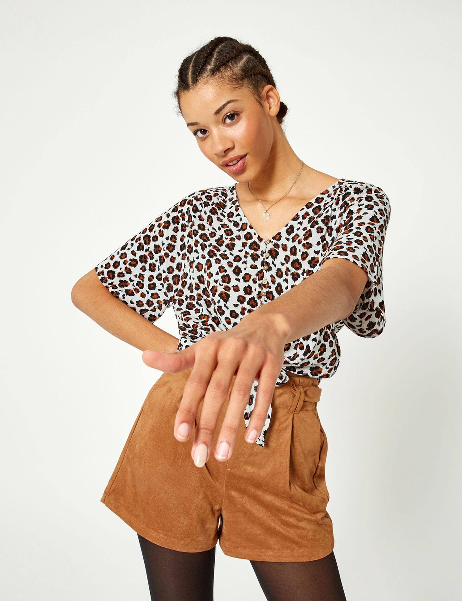 Beige leopard print tie-fastening blouse