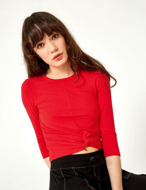 tee-shirt effet noué rouge