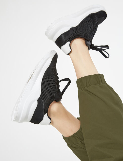 mixed fabric trainers