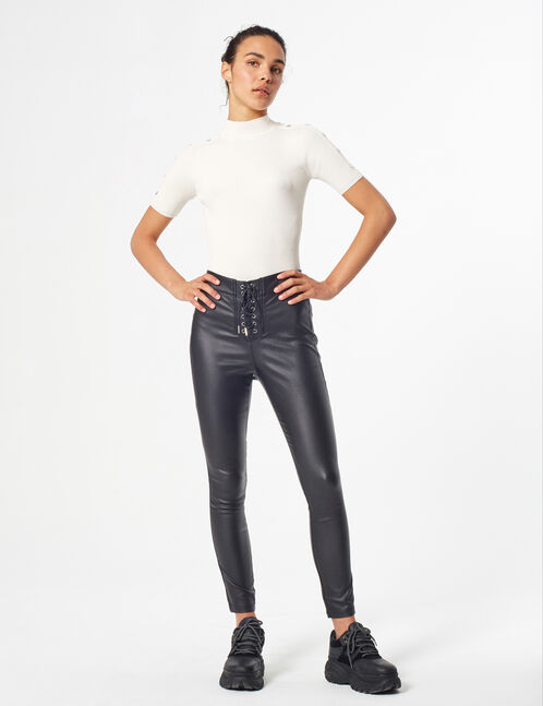 coated trousers with lacing
