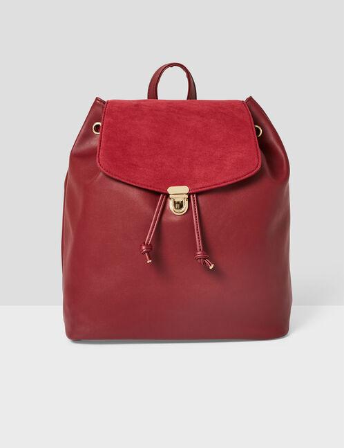 Burgundy mixed fabric backpack