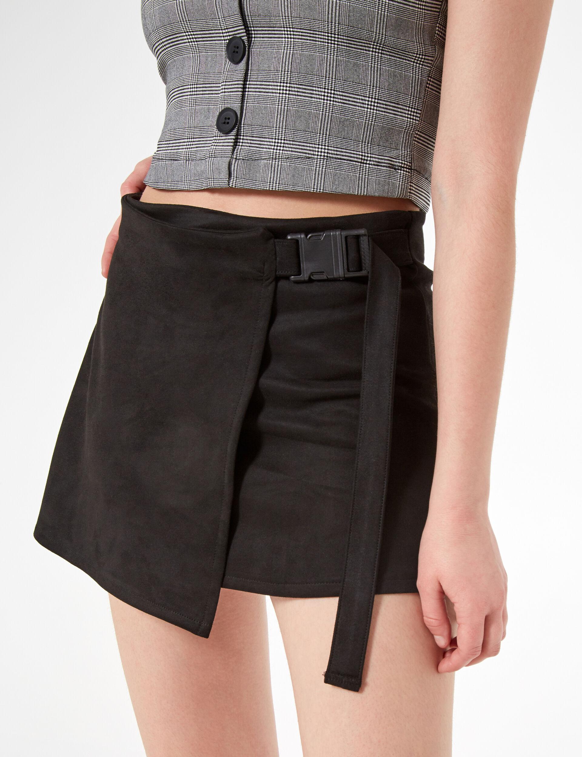 Belted suedette skirt