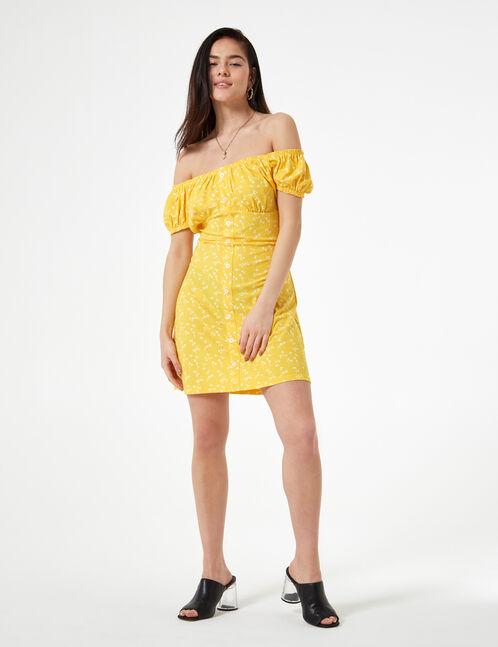 flowered yellow and white dress