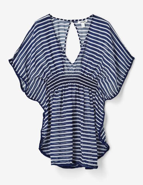 tunique de bain rayée bleu marine et écrue