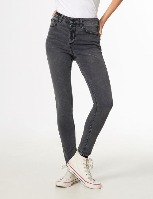 Grey high-waisted buttoned jeans