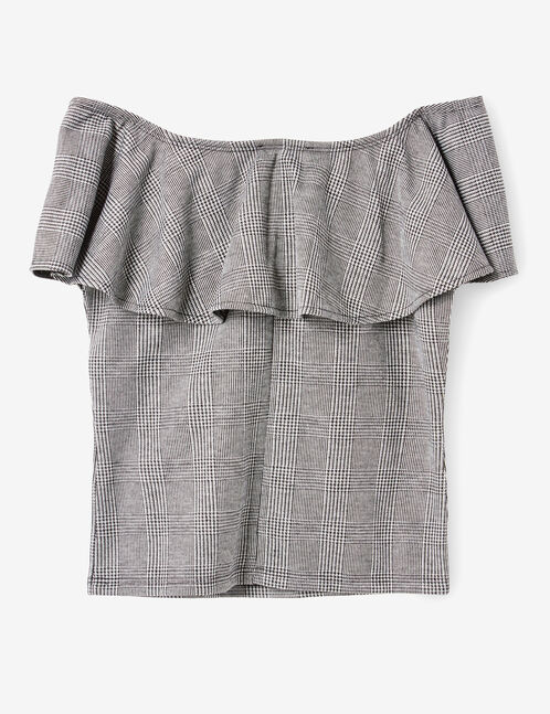 Grey off-the-shoulder top