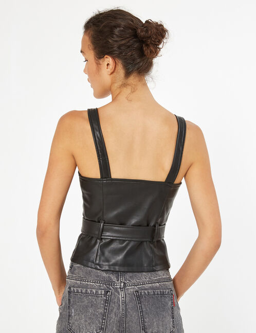 faux leather top with belt