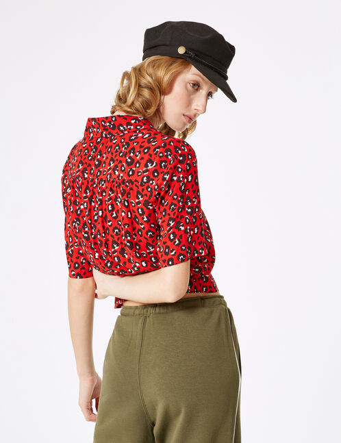 Cropped red leopard print blouse