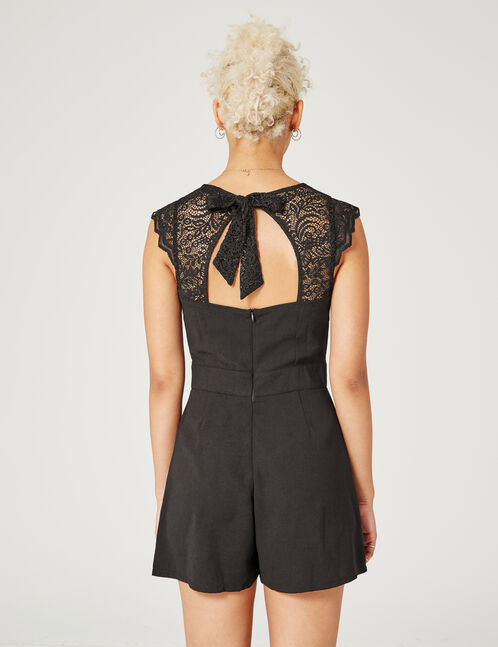 Black open-back playsuit