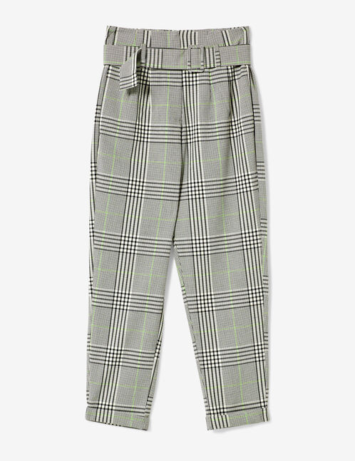 pantalon à carreaux écru, gris et vert