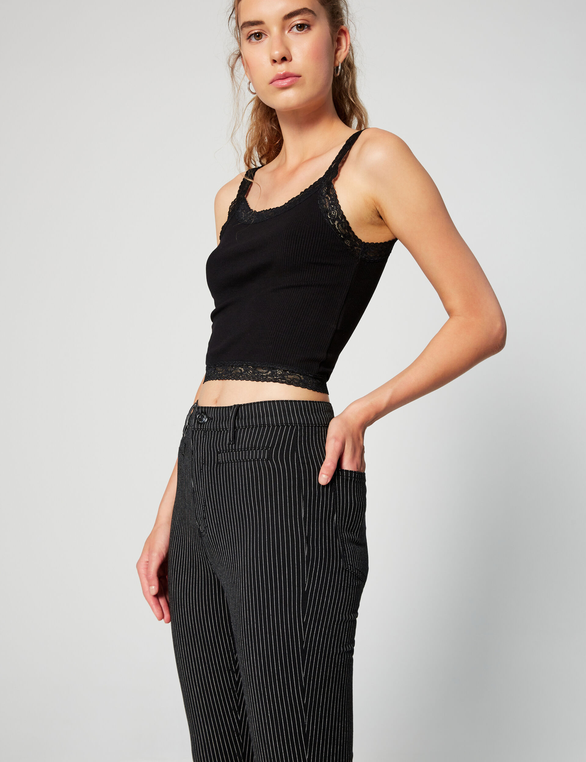 Striped high-waisted jeggings