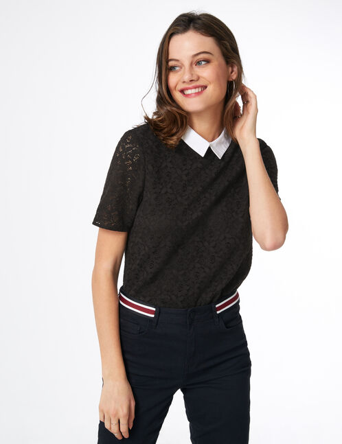 blouse dentelle et col blanc noire