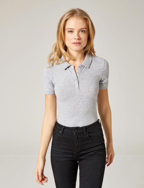 Grey marl sporty bodysuit